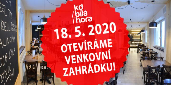 Divadelní restaurace opět ožije 18. 5. 2020! KD Bílá Hora otevře výdejní okénko s letní zahrádkou!